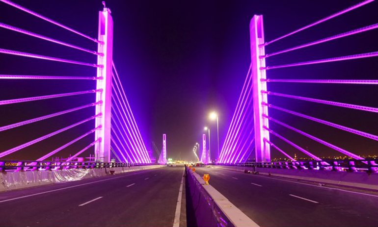 Qatar's first cable-stayed bridge partially opened